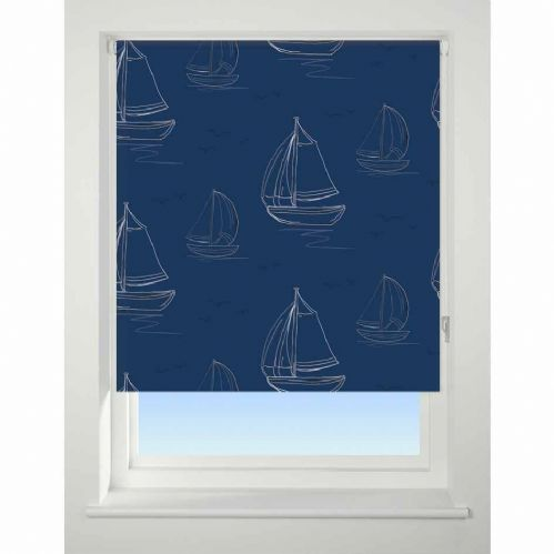 Universal Patterned Blackout Roller Blind - Boats